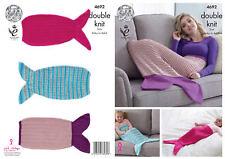 King Cole Double Knitting DK Pattern Ladies Kids & Babies Mermaid Blankets 4692