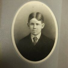 UNUSUAL Antique Cabinet Card Mounted Early illustration Boy Child Dixon, IL VTG