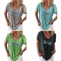 KQ_ Women Baggy Oversized Loose Fit Dragonfly Print Ladies V Neck Top T shirt Bl