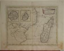 MADAGASCAR MOZAMBIQUE MAURITIUS REUNION 1784 ZATTA ANTIQUE COPPER ENGRAVED MAP