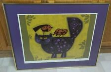 DAVID WEIDMAN DUMMY CAT VIOLET OFF SET LITHOGRAPH FRAMED ART SIGNED