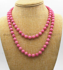 Pink Rhodochrosite gemstone beads jewelry necklace New Long 54 Inch Pretty 10mm