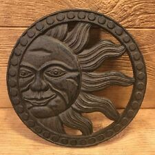 "Cast Iron Sun Face Stepping Stone Wall Plaque 12"" wide Garden Decor 0184-0037"
