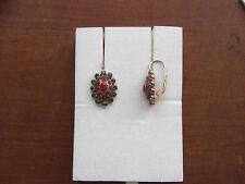 Orecchini in argento anticato corallo rosso e swarovsky