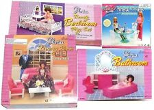 Gloria, Barbie Doll House Furniture Set of 4 Rooms  Living, MT Dining, Bed, Bath