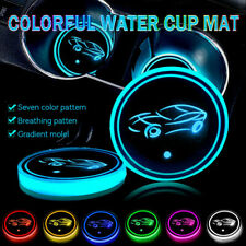 2PCS LED Car Cup Holder Pad Mat For MUSTANG AUDI Auto Atmosphere Lights Colorful