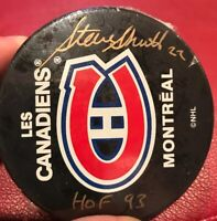 STEVE SHUTT #22 MONTREAL CANADIANS SIGNED HOCKEY PUCK AUTO HOF 93 Awesome F5