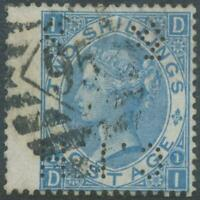GB 1870 2sh dull blue pl.1 (DI) wing margin superb used w LONDON numeral PERFIN