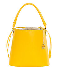 Mia Tomazzi Yellow Leather Bucket Bag  NWT