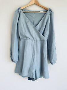 Kookai Playsuit Size 40 Light Green Long Sleeve Linen Tencel Blend