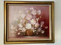 """Lovely Still Life Flowers Vase Painting framed 24"""" x 20"""" & Signed, MB278"""