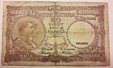 20 Francs, 1943 Belgique KM#111, 1947-01-27 / 20 Frank Belgïe Belgium Banknote
