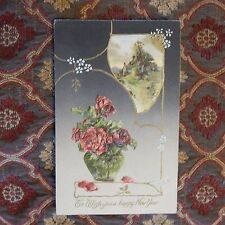 Vintage Postcard To Wish You A Happy New Year, Landscape Scene, Vase Red Roses