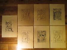 7 x Erotika Zeichnungen 1924 mit Signatur