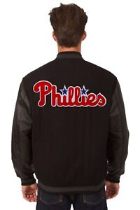 Philadelphia Phillies Wool & Leather Reversible Jacket with Embroidered Logos