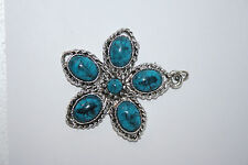 """Vintage Estate Handcrafted Large Silver Turquoise Flower-Shaped Pendant 2"""" Wide"""