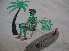 """Vans """"The Endless Wait"""" Skeleton Skateboard Surfboard White Men's T Shirt L"""