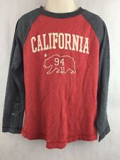 Old Navy Kids Red and Gray California Long Sleeve Shirt Shirt Size S 6-7