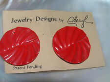 Estate Jewelry Designs by Cheryl Cherry Red Ridged Round Post Earrings