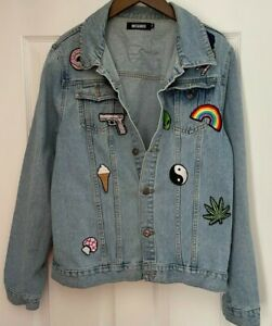 Ladies Missguided Denim Jacket. Size 14. Blue With Badges. FREE P+P