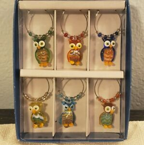 Pier 1 Imports Owl Stemware Drink Charms Set of 6 Brand New