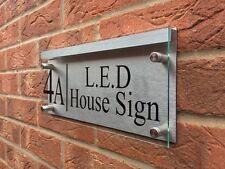 MODERN HOUSE SIGN PLAQUE DOOR NUMBER STREET GLASS ACRYLIC ALUMINIUM LIGHT HOLDER