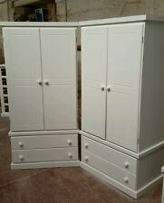 HANDMADE X2 CAMBRIDGE WHITE 2 DRAWER AND 2 DOOR WARDROBES **SPECIAL OFFER** !!!!