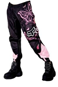 Fox Racing Black Pink Dirt Bike Off Road MotoCross Pants 180 Youth Sz 7 / 8 !