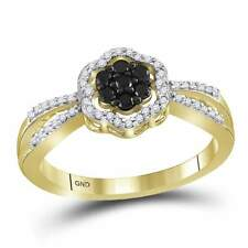 10k Yellow Gold Womens Round Black Color Enhanced Diamond Flower Cluster Ring