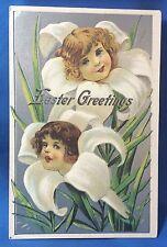 c 1910 Antique Original EASTER Children FLOWER FACE Victorian Embossed Postcard