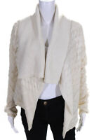 Michael Michael Kors Womens Cable Knit Open Front Cardigan White Size Small