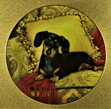 Oh, So Comfy! Plate Dachshunds Christopher Nick Danbury Mint Reds Golds Pillow