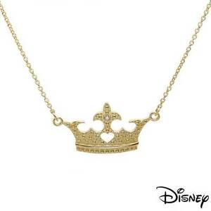 DISNEY Princess Crown Necklace W/Genuine Diamond in 14K/925 Gold plated Silver