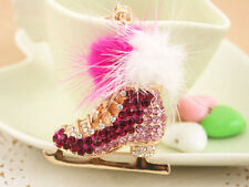 KC156 Roller Skates Shoes Keyring Creative Crystal Charm Pendant Key Chain Gift