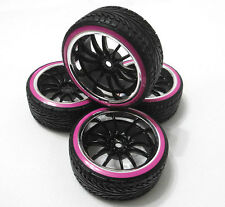 4 PCS HPI Wheel Rim + DOUBLE LAYER Hard Plastic Drift Tires FOR 1/10 RC Car PINK