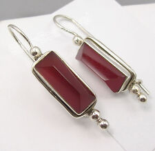 "925 Sterling Silver RED FIRE CARNELIAN PYRAMID Gem HANDWORK Earrings 1.5"" NEW"
