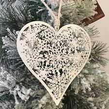 WHITE NORDIC SCANDI METAL FESTIVE SNOWFLAKE HEART HANGING CHRISTMAS DECORATION