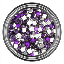 Dark Purple Square Rhinestone Gems Flat Back Face Art Nail Art Jewels Decoration
