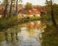 Beautiful Village Landscape Oil painting Art Giclee Printed on Canvas P851