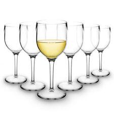 RB White Wine Glasses Premium Plastic Unbreakable Reusable 20cl, Set of 6