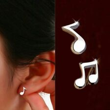 """Small Cute 925 Silver Musical Note Stud Earrings Pair / Gift Hypoallergenic """"UK"""""""