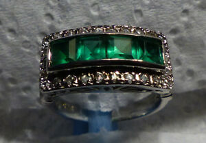 Sterling Four Emerald Green Glass Channel Set Ring