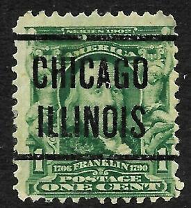 "Sc #300 ""Chicago ILLINOIS"" Precancel 1901 Regular 1 Cent Franklin US 13A51"