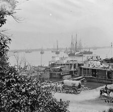 Federal Supply Boats at Waterfront City Point, VA 1865 - 8x10 US Civil War Photo