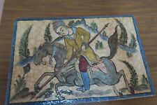 "Antique Iznik Armenian Polychrome Glazed Tile Horse .  Hunting Scene, 9"" x 13.5"""