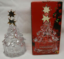 "Mikasa Golden Stars crystal glass Christmas Tree Covered Candy Nut Dish 7"" H NIB"