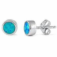 Bezel Blue Opal Stud Earrings .925 Sterling Silver