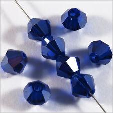 Lot de 30 Perles Tchèques Toupies en Cristal 6mm Bleu Foncé