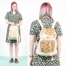 VINTAGE BEIGE WOVEN RUCKSACK BACKPACK HESSIAN STYLE MATERIAL CASUAL HIPSTER