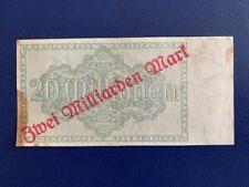 GERMANY -  2 BILLION  MARK  BANKNOTE 1923- MANNHEIM -INFLATION - VERY FINE